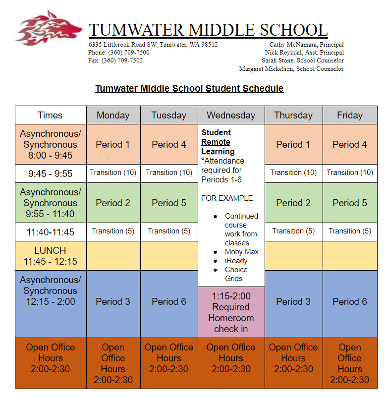 TMS Student Schedule Overview
