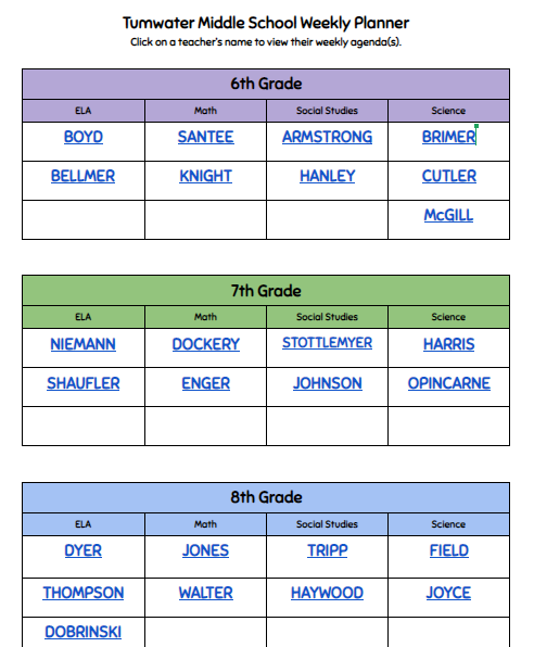 TMS Teacher Weekly Planner