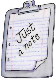 Note pad saying Just a Note