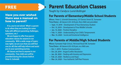schedule of parent ed classes - see below for list
