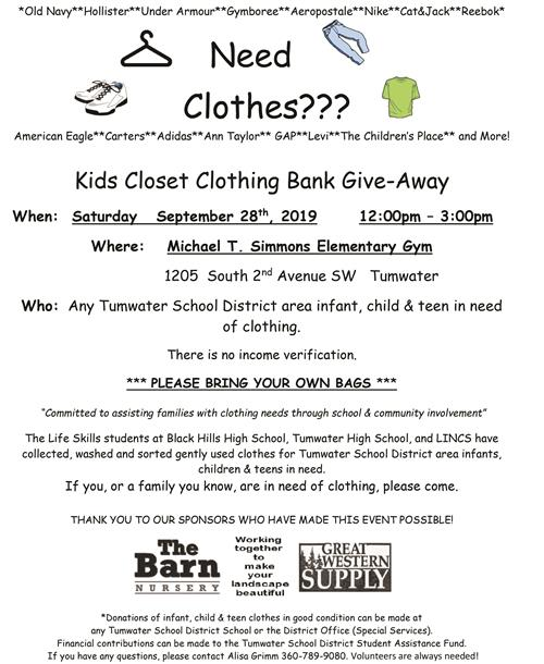 Need Clothes??? - Kids Closet Clothing Bank Give-Away